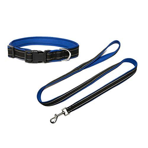 Aeici Halsband für Hunde Hundeleine Set Polyester,Hundehalsbänder Tracht Reflektierende Streifen Hundehalsband 50cm Dunkelblau