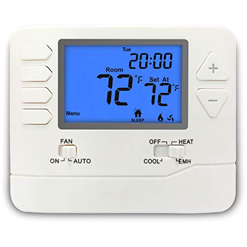 ELECTECK Heat Pump Thermostat with Large Digital LCD Display, 5-1-1 Day Programmable, Compatible with Multi-stage Electrical, Gas and Oil Systems, Up to 2 Heat/1 Cool, White