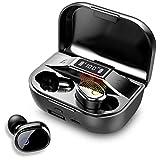 auricolari bluetooth 5.0, hi-fi stereo bassi profondi cuffie bluetooth con microfono, ipx7 impermeabile auricolari bluetooth senza fili con 2000mah scatola di ricarica, display lcd e auto pairing