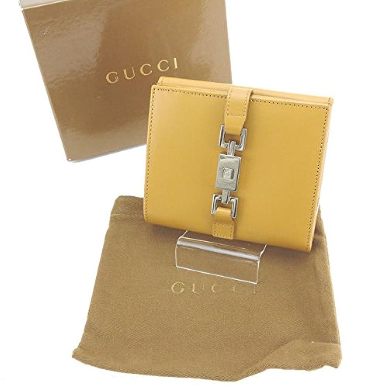 ぬれた集団黄ばむグッチ GUCCI Wホック財布 二つ折り コンパクトサイズ ユニセックス ジャッキー金具 中古 美品 C1865
