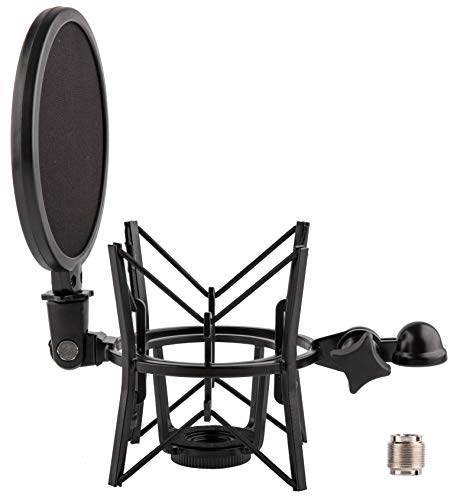 LYRCRO Universal Microphone Shock Mount with Integrated Pop Shield for almost Rode Mics(20mm Internal Thread)
