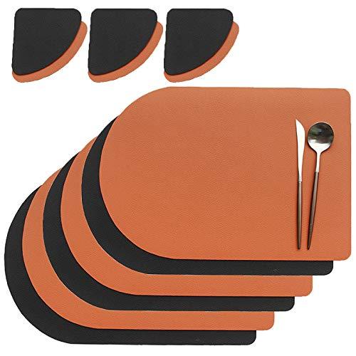 Manteles Individuales Cuero, Antideslizantes Mantel Conjunto con Posavasos, Lavables Resistente al Calor para la Mesa de Comedor (Color : Orange black)