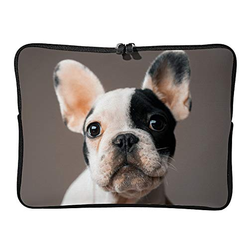 Regular French Bulldog Laptop Bags Retro Expandable - Pet Lover Tablet Sleeves Suitable for School White 10 Zoll