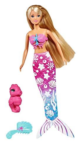 Simba 105733322 - Steffi Love Magic Mermaid / Steffi als Meerjungfrau / Flosse mit Farbwechsel / mit Wasserspritzfigur und Bürste / Ankleidepuppe / 29cm, für Kinder ab 3 Jahren