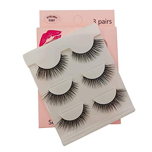 SHIDISHANGPIN 3 paires de cils Cils naturels 3D Essential Beauty Essentials Fluffy Faux Cils Maquillage Professionnel Épais Faux-Cils Réutilisables Fabriqués à la Main # G307