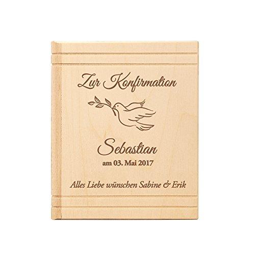 Casa Vivente Spardose in Bibel Buch Optik aus Holz - mit Gravur zur Konfirmation - Personalisiert mit Namen und Datum - Motiv Taube - Sparbüchse aus Birkenholz als Geschenkidee -Konfirmationsgeschenk