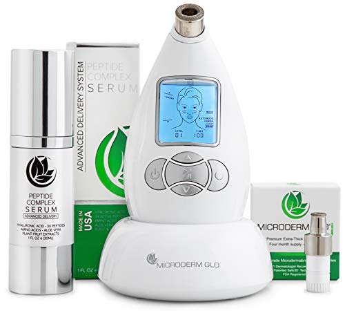 Microderm GLO Premium Skincare Bundle Includes Diamond Microdermabrasion System, 10mm Filters 100 pack, Peptide Complex Serum. Pore Vacuum Promotes Collagen Production for Tone, Bright & Clear Skin