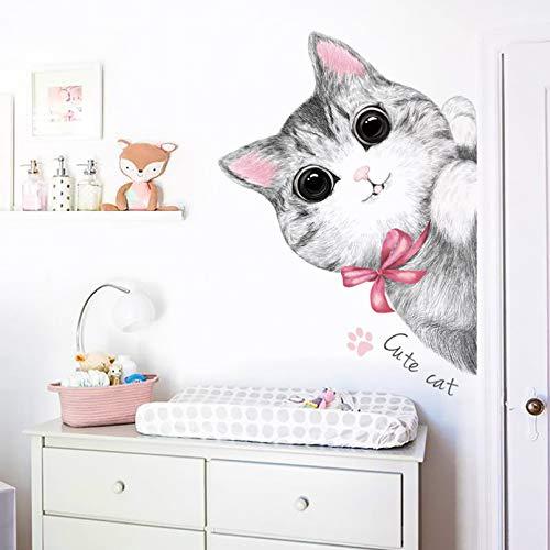 Pegatinas de pared de gato lindo curioso para habitaciones de niños, decoración de pared de guardería, vinilo autoadhesivo, calcomanía de pared para puerta, decoración del hogar