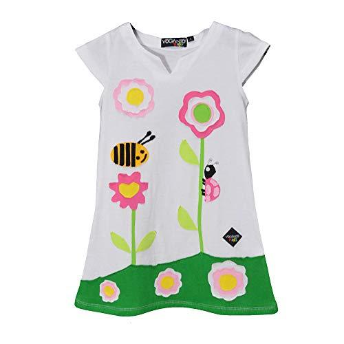 VOGANTO KIDS Dziewczęca kolekcja letnia sukienka z bawełny biała biedronka i pszczoły