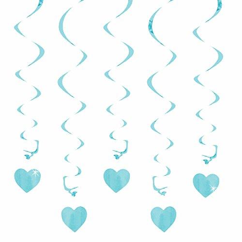 Oblique Unique® Deckenhänger Spiral Girlanden mit Herzen - Farbe wählbar (Hellblau)