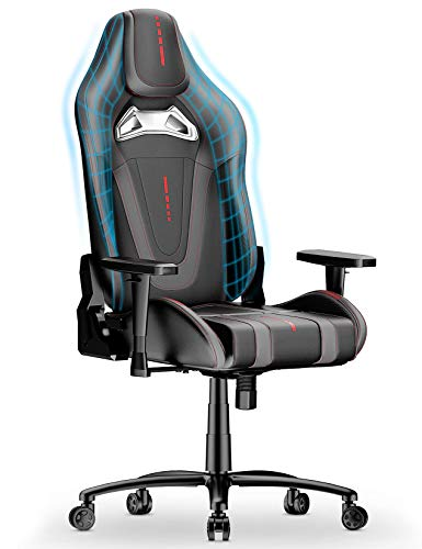 mfavour Gaming Chair Ergonomic Swivel Computer Chair PC Gaming Chair With Racing Design Heavy Duty Desk Chair 170°Free Adjust Backrest 2D Armrest (Grey&Black)