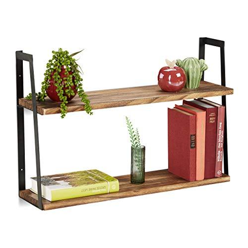 Relaxdays Wandregal, 2 Ablagen, Hängeregal für Küche, Wohn, Schlafzimmer, Metall & Holz, HBT 40x60x15 cm, Natur/schwarz, 1 Stück