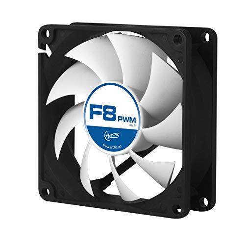 ARCTIC F8 PWM – 80 mm Ventilador de Caja para CPU con PWM Sharing Technology, Motor Trifásico Muy Silencioso, Computadora, 300-2000 RPM – Gris/Blanco