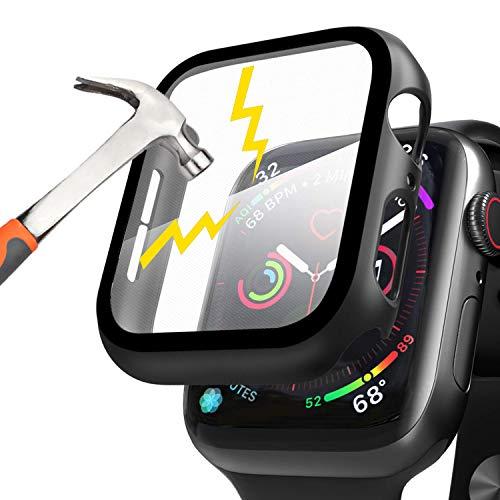 Per Apple Watch 44mm Series 6/Series SE/Series 5/Series 4 Custodia + Pellicola Protettiva, Waflyer Case PC Protettiva in Vetro Temperato Integrata Cover Pieno Ultra Sottile per iWatch 44mm-Nero