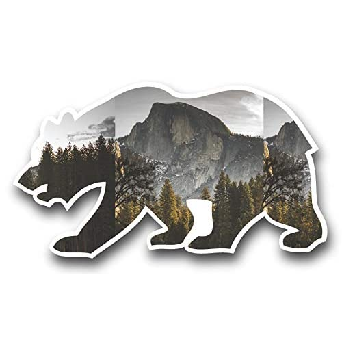 Half Dome Yosemite Valley Cali Bear Vinyl Sticker for Laptop Journal or Wall
