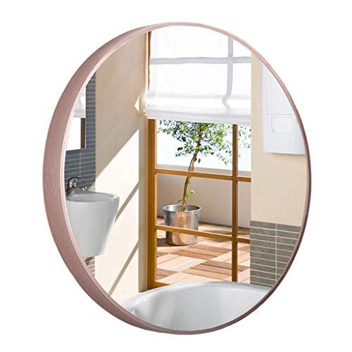DERUKK-TY Espejo de pared decorativo circular HD inastillable plateado marco de metal redondo montado en la pared espejo de baño en el pasillo de maquillaje, dormitorio, sala de estar (tamaño: 60 cm)