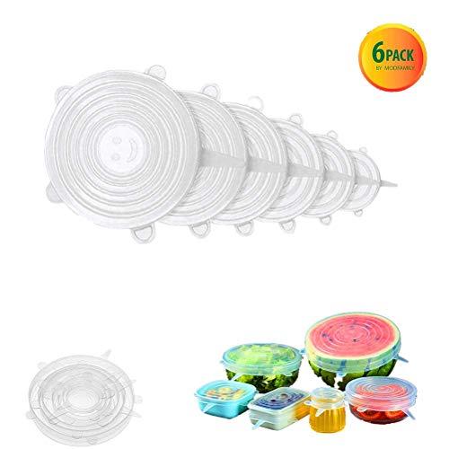 Verstellbarer elastischer Silikon-Küchentopfdeckel, Packung mit 6 verschiedenen Größen von Silikonschalendeckeln, Lebensmittelschutzdeckel für Tassen, Schalen oder Dosen, wiederverwendbar kein BPA