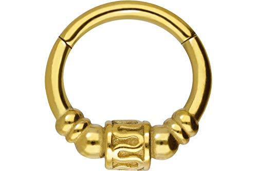 PIERCINGLINE Chirurgenstahl Segmentring Clicker Ethno Design Ohr Nase Piercing Ring Helix Septum Farb & Größenauswahl