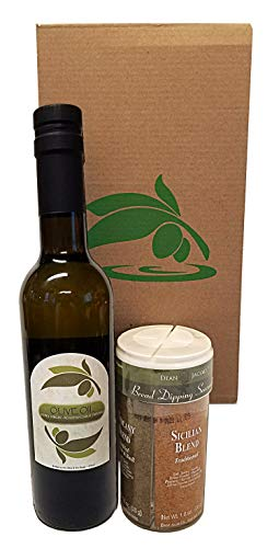 Bread Dipping Party Set of Garlic Infused Extra Virgin Organic Olive Oil 375ml and 4 Flavor Bread Dipping Seasoning, - enjoy your social gathering with this gourmet oil bread dipping gift kit