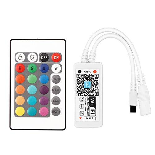 ABEDOE Contrôleur à Distance de WiFi LED, contrôleur futé imperméable pour Les Bandes Lumineuses de RVB LED Travailler avec la télécommande d'IR WiFi de 24 Touches d'Alexa