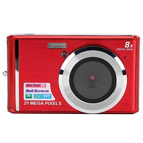 Vbestlife Cámara Digital para niños, Pantalla TFT de 21MP y 2.4 Pulgadas Cámara Digital con Zoom 8 Veces con batería incorporada Soporte máximo Tarjeta de Memoria de 64GB, Regalo para niños(Rojo)