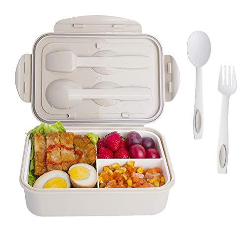 INSANY Lunch Box, Bento Box con Forchetta e Cucchiaio per Studenti,Porta Pranzo con 3 Scomparti,Microonde/Frigo/Lavastoviglie,Approvato dalla FDA(Beig
