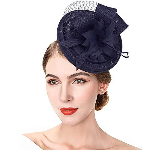 JaosWish Fascinator mit Tüll und Federn, Haarband, Netz, Blume, Haarspange für Cocktailparty, Royal Ascot, Hochzeitshut Gr. Einheitsgröße, marineblau
