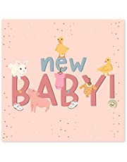 بطاقة سنترال 23 - بطاقة طفل جديدة رائعة - تهانينا - فتاة طفل - بطاقة لطيفة للآباء الجدد - حيوان - يأتي مع ملصقات حلوة