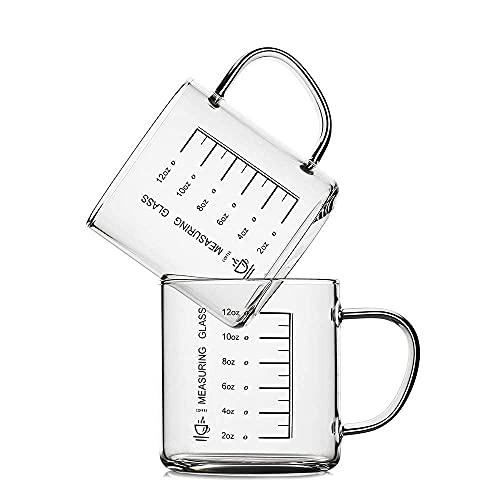 LUXU ガラス製コーヒーマグカップ 計量機能付き 広口デザイン ビーカーマグ (2個セット) 14オンス クリア ホウケイ酸ガラス モカ ホットドリンクカップ 断熱ハンドル付き 自宅 オフィス カフェに最適