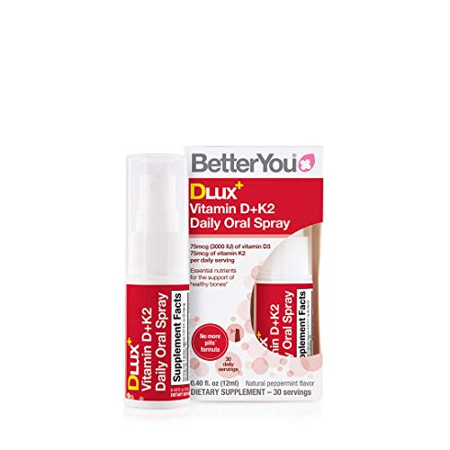 BetterYou Vitamin D+K2 Oral Spray   Natural Liquid Daily Multivitamin Spray and Immune System Support Supplement for Healthy Bones   0.40 fl oz