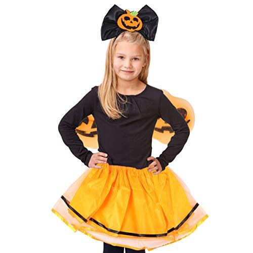 Bolsa de disfraces de calabaza power ranger niños adultos-Disfraz Calabaza Decoración Halloween Disfraz Conjunto Calabaza Diadema ala Tutú Falda para Niñas Niños 3 Piezas
