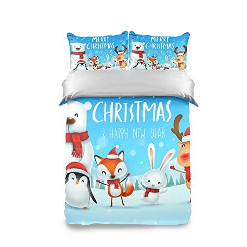 HappyCAT Bedding Set 3 Piece Merry Christmas Polar Bear Elk Milu Deer Fox Rabbit Penguin Kids Duvet Cover Set Twin(1 Duvet Cover + 2 Pillow Shams) Comforter Cover for Boys Girls 66x90in 5020659