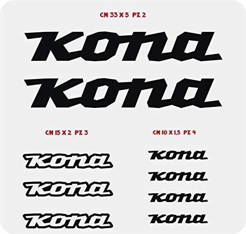 Pimastickerslab – Fahrrad-Aufkleber Kona, Farbe wählbar, 9 Stück, Artikelnummer 0101, Nero cod. 070