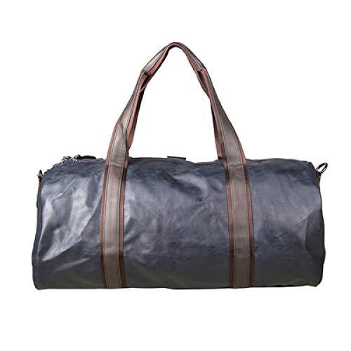 Fslt PU leather travel bag cylinder men's duffel bag luggage waterproof handbag men's bag-blue