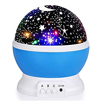 Kids Star Night Light 360-Degree Rotating Star Projector Desk Lamp 4 LEDs 8 Colors Changing with USB Cable Best for Children Baby Bedroom and Party Decorations