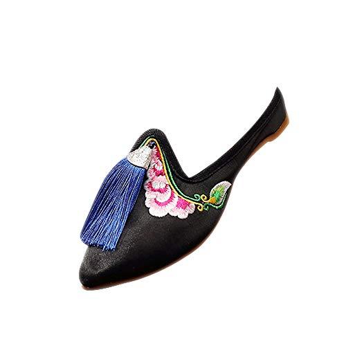 XFentech Schuhe Damen - Chinesische Traditionen Braut Hochzeit Quaste Bestickt Hausschuhe,Schwarz,CN34(Fußlänge:220mm)