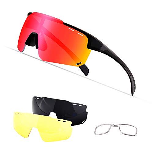 OULIQI Radbrille Polarisierte Sportbrille Fahrradbrille mit UV-Schutz 4 Wechselgläser für Herren Damen, für Outdooraktivitäten wie Radfahren Laufen Klettern Autofahren Angeln Golf (Schwarz/Grau)