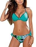 Tuopuda Donna Costume da Bagno Due Pezzi Regolabile Bikini Set Push Up Costume da Bagno Imbottito Tankini Spiaggia Swimwear Beachwear (S, S)