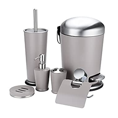 Fortune Candy Bathroom Accessories Set of 6, Stainless Steel Waste Bin, Toilet Brush and Holder, Toothbrush Holder, Toilet Paper Holder, Soap Dish, Soap Dispenser (Warm Gray)