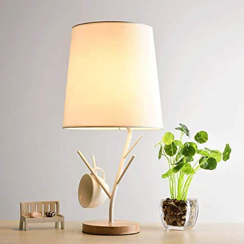 Equipo diario Lámpara de mesa simple Estilo retro de madera maciza y pantalla de tela Iluminación relajante para el dormitorio Lámpara de escritorio de noche Estudio de sala de estar contemporáneo