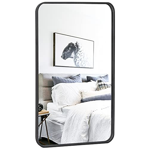 "ZenStyle Black Metal Framed Rectangular Wall Mirror 24"" x 36"" Bathroom Mirror with Peaked Trim for Entryways, Bathrooms, Living Rooms"