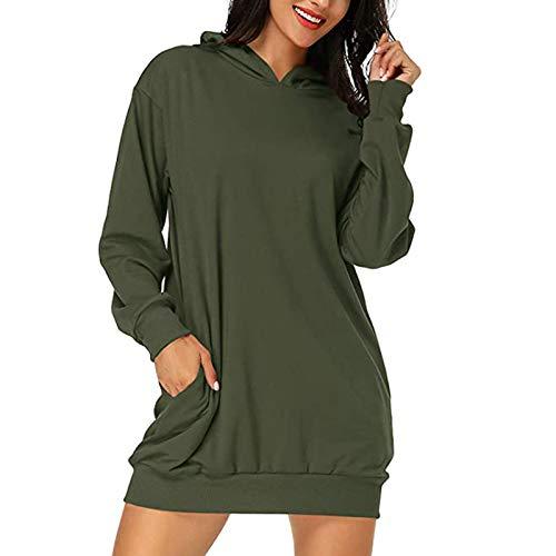 Xmiral Damen Hoodie Kleid, Pullover, Langarm Sweatshirts, Kapuzenoberteile, Herbst Minikleid mit Taschen(Grün,XXL)