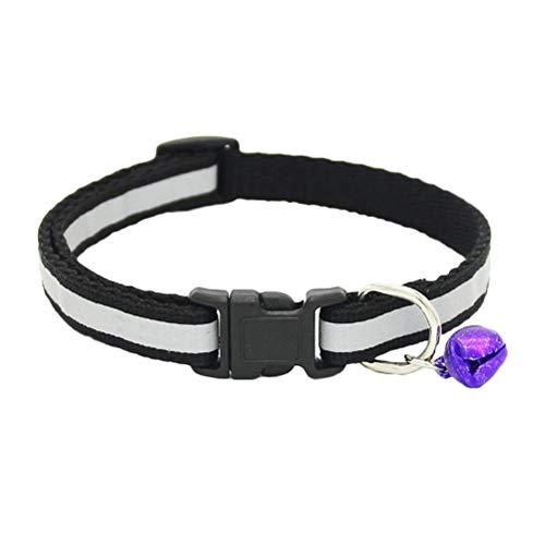 HDDFG Collares Reflectantes Ajustables para Mascotas, Gatos, Perros, Cachorros, Hebilla de Seguridad, Correa para el Cuello, Suministros para Perros (Color : Black)