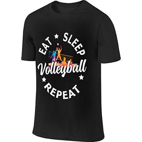 Eigenlijk thuis Eet Slaap Volleybal Herhaling-2 Mannen T-shirt met korte mouwen Atletische Casual Tee Shirts Voor Mannen Comfortabele T-shirt