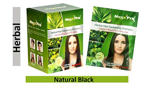 Max Pro Hair Dye Hair Darkening Shampoo Instant Black Pack of 10 Sachets