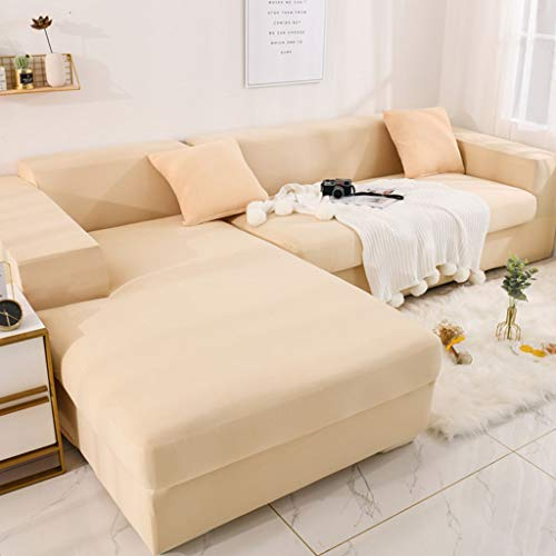 Stretch Sofa Cover,Solid Color Soft Couch Cover All Inclusive Anti-Slip Washable Slipcover L-Shaped Chaise Lounge Furniture Protector Four Seasons Sofa Slipcover 1 pcs-235-310cm(93-122inch)-U