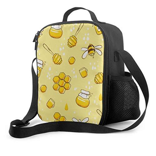 Lawenp Bolsa de almuerzo para mujer con dibujos animados de primavera, abeja, animal, flor, niños, bolsa de almuerzo con asa, correa para el hombro, bolsa refrigeradora reutilizable para hombres, muj