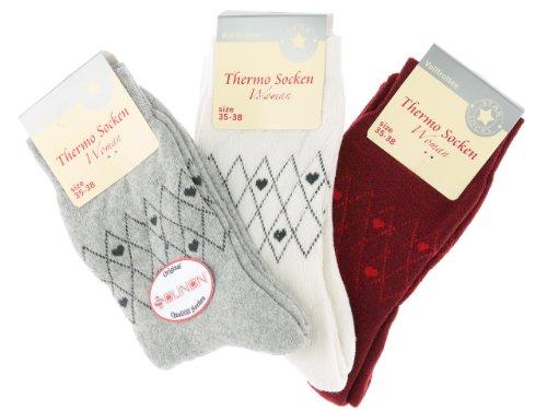 SOUNON 6 Paar Damen Thermo Socken - Vollfrottee (5406) - Original, Groesse: 35-38