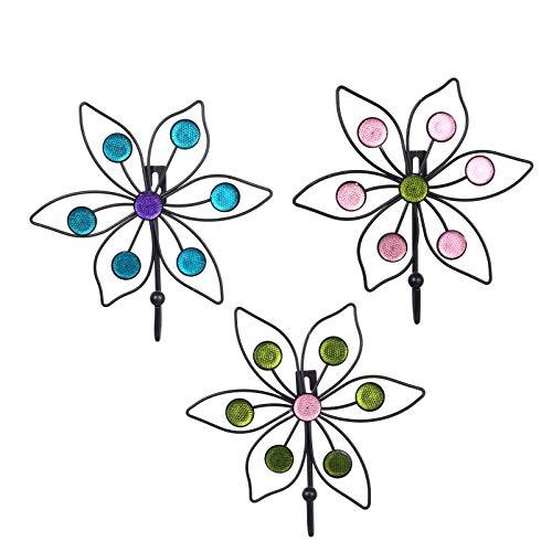 Angoily 3 Piezas de Metal Vintage Y Poliresina Arte Diseño Floral Llave Decorativa Sombrero Ganchos de Toalla de Tela Suspensión de Pared Puerta de La Sala de Estar Decoración de La Pared