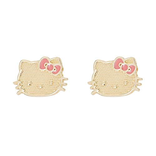 Hello Kitty Pendientes de oro amarillo de 10 quilates con lazo rosa